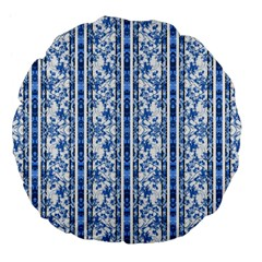 Chinoiserie Striped Floral Print Large 18  Premium Flano Round Cushions