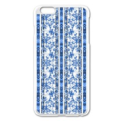 Chinoiserie Striped Floral Print Apple Iphone 6 Plus Enamel White Case