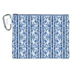 Chinoiserie Striped Floral Print Canvas Cosmetic Bag (XXL)