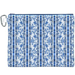Chinoiserie Striped Floral Print Canvas Cosmetic Bag (xxxl)