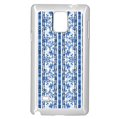 Chinoiserie Striped Floral Print Samsung Galaxy Note 4 Case (White)
