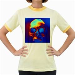 Skull Women s Fitted Ringer T Shirts