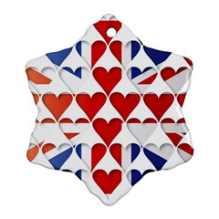 Uk Hearts Flag Snowflake Ornament (2-Side)