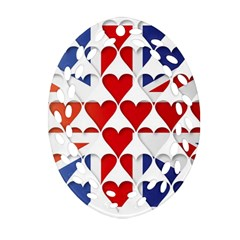 Uk Hearts Flag Oval Filigree Ornament (2-Side)