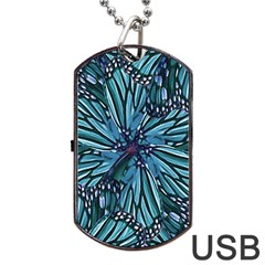 Modern Floral Collage Pattern Dog Tag USB Flash (One Side)