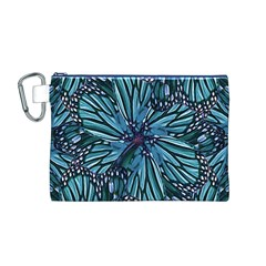 Modern Floral Collage Pattern Canvas Cosmetic Bag (M)