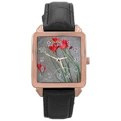 Red Flowers Rose Gold Watches
