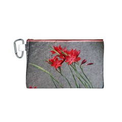 Red Flowers Canvas Cosmetic Bag (Small)