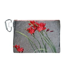 Red Flowers Canvas Cosmetic Bag (Medium)