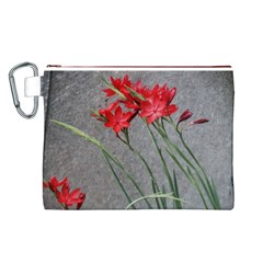 Red Flowers Canvas Cosmetic Bag (Large)
