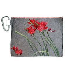 Red Flowers Canvas Cosmetic Bag (XL)