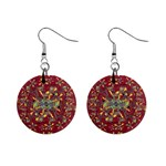 Oriental Floral Print Mini Button Earrings Front