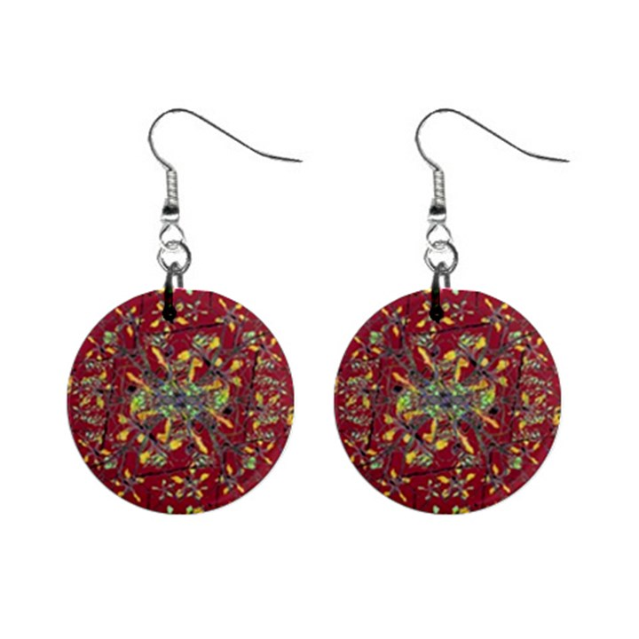 Oriental Floral Print Mini Button Earrings