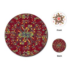 Oriental Floral Print Playing Cards (round)