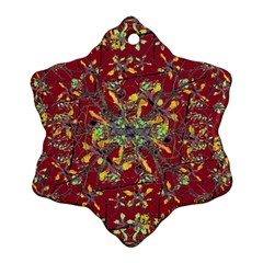 Oriental Floral Print Snowflake Ornament (2 Side)