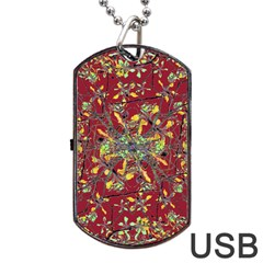 Oriental Floral Print Dog Tag Usb Flash (one Side)