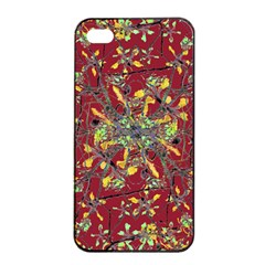 Oriental Floral Print Apple iPhone 4/4s Seamless Case (Black)