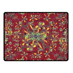 Oriental Floral Print Double Sided Fleece Blanket (Small)