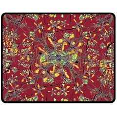 Oriental Floral Print Double Sided Fleece Blanket (medium)