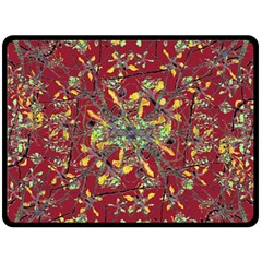 Oriental Floral Print Double Sided Fleece Blanket (Large)