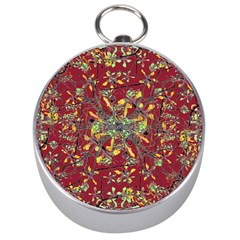 Oriental Floral Print Silver Compasses