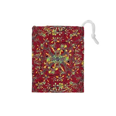 Oriental Floral Print Drawstring Pouches (Small)
