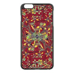 Oriental Floral Print Apple Iphone 6 Plus Black Enamel Case
