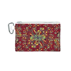 Oriental Floral Print Canvas Cosmetic Bag (S)