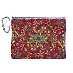 Oriental Floral Print Canvas Cosmetic Bag (XL)