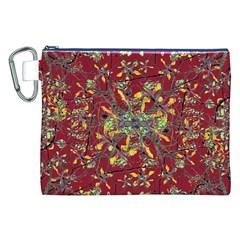 Oriental Floral Print Canvas Cosmetic Bag (xxl)
