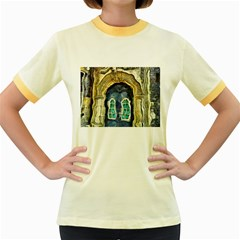 Luebeck Germany Arched Church Doorway Women s Fitted Ringer T Shirts