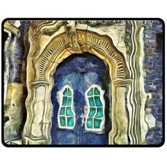 Luebeck Germany Arched Church Doorway Double Sided Fleece Blanket (Medium)