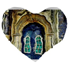 Luebeck Germany Arched Church Doorway Large 19  Premium Flano Heart Shape Cushions