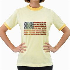 USA States Flag Women s Fitted Ringer T-Shirts