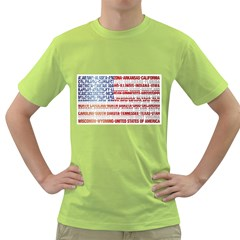 USA States Flag Green T-Shirt