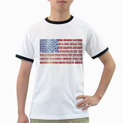 USA States Flag Ringer T-Shirts