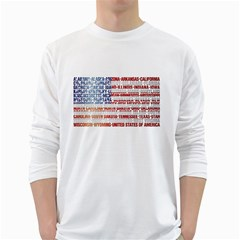 USA States Flag White Long Sleeve T-Shirts
