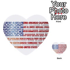 USA States Flag Multi-purpose Cards (Heart)