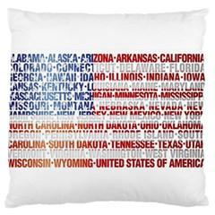 USA States Flag Large Flano Cushion Cases (One Side)
