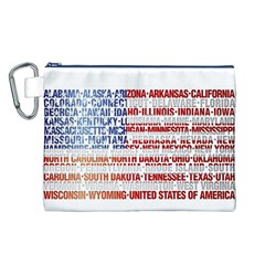 USA States Flag Canvas Cosmetic Bag (L)