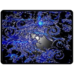 Blue Silver Swirls Fleece Blanket (Large)