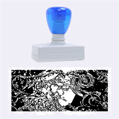 Blue Silver Swirls Rubber Stamps (Large)