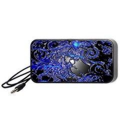 Blue Silver Swirls Portable Speaker (Black)