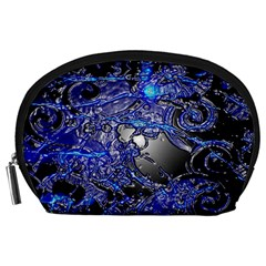 Blue Silver Swirls Accessory Pouches (Large)