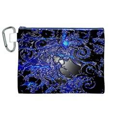 Blue Silver Swirls Canvas Cosmetic Bag (XL)