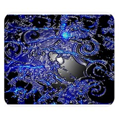 Blue Silver Swirls Double Sided Flano Blanket (Small)