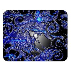 Blue Silver Swirls Double Sided Flano Blanket (large)