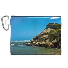 Tropical Beach Of Tayrona National Park Canvas Cosmetic Bag (XL)