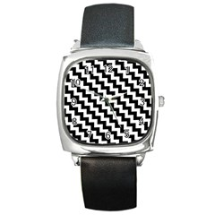 Black And White Zigzag Square Metal Watches