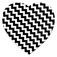 Black And White Zigzag Jigsaw Puzzle (heart)